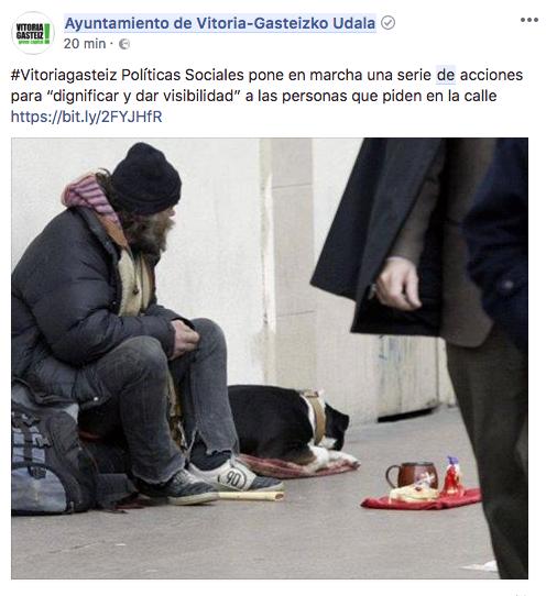 El Ayuntamiento de Vitoria convoca un concurso fotográfico sobre la mendicidad en Gasteiz