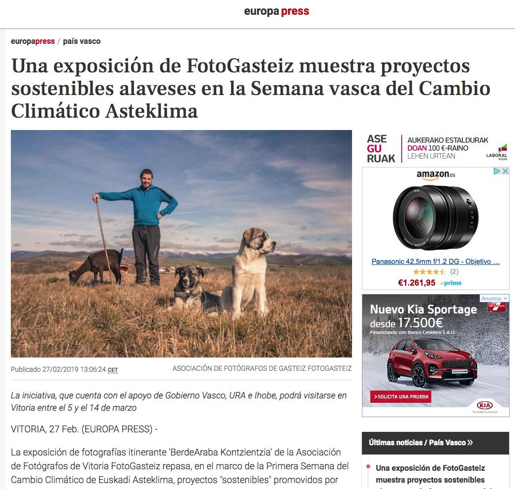 La agencia de noticias Europa Press informa de la próxima muestra 'BerdeAraba Kontzientzia'